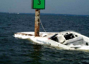 Boat crashed into marker